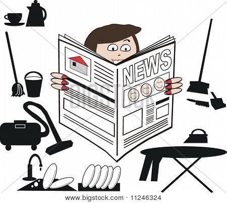 Housewife news cartoon
