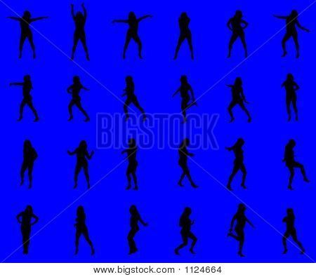 Multiple Silhouettes Against A Blue Background