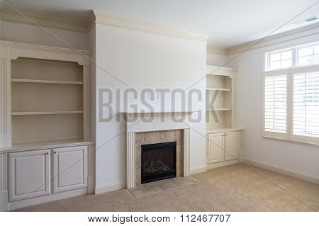 Built-in Bookcases In Empty Room