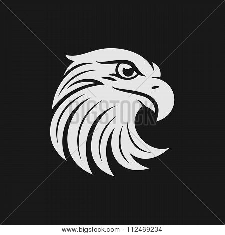 Eagle head logo or icon in one color.