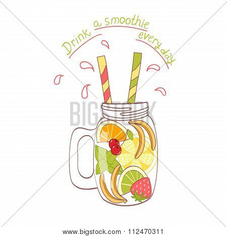 cartoon hand drawn mason jar with fruit banana orange lime strawberry poster