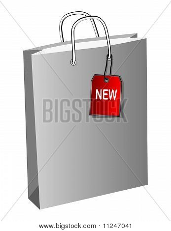 Shopping bag with a label