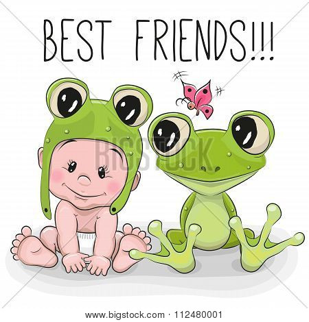 Cute Cartoon Baby And Frog