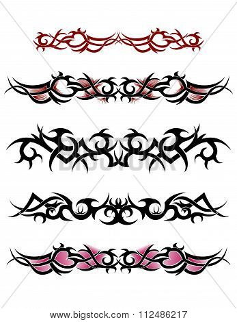 Attractive ornate tribal ankle tattoos design set poster