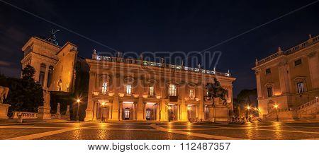 Rome, Italy: The Capitolium square at night