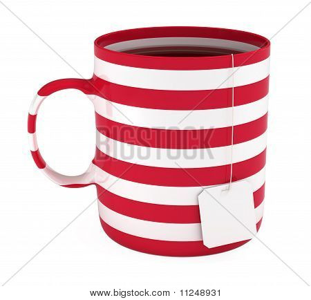 Cup of Tea with Blank Label, Striped, Isolated on White