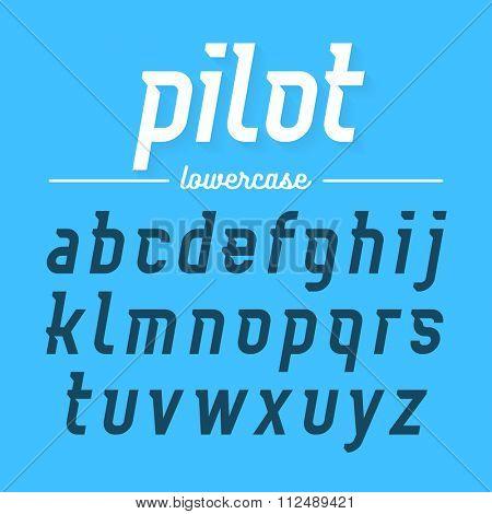 Pilot, modern Aviator font lowercase letters. Vector illustration. poster