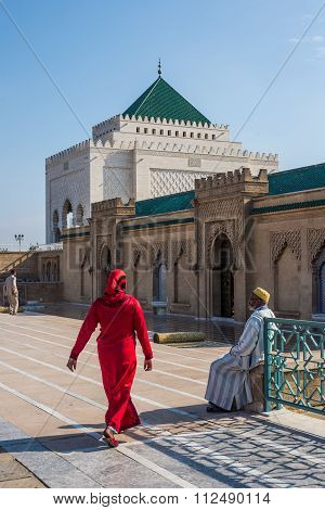 Muslims Visiting The Mausoleum Of Mohammed V And And Hassan Ii In Rabat.