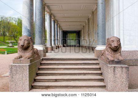 Marble Collonade With Lions On Entrance