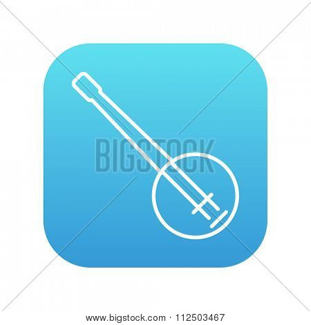 Banjo line icon for web, mobile and infographics. Vector white icon on the blue gradient square with rounded corners isolated on white background.