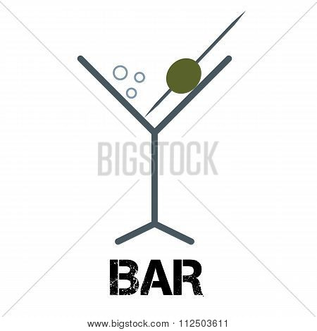 Martini Cocktail Bar Logo. Linear Style Glass With Olive On Toothpick