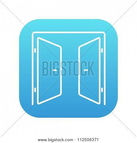 Open doors line icon for web, mobile and infographics. Vector white icon on the blue gradient square with rounded corners isolated on white background.