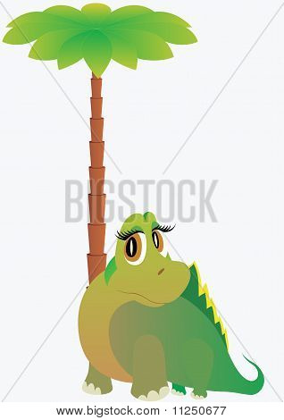 A small dinosaur standing next to a palm tree poster