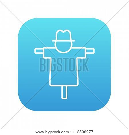 Scarecrow line icon for web, mobile and infographics. Vector white icon on the blue gradient square with rounded corners isolated on white background.