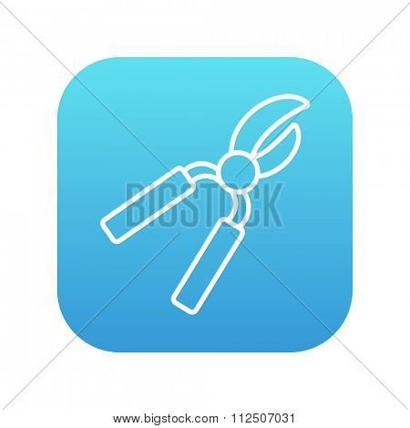 Pruner line icon for web, mobile and infographics. Vector white icon on the blue gradient square with rounded corners isolated on white background.
