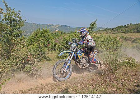 Bikers Riding Enduro Motorcycles Husaberg 390