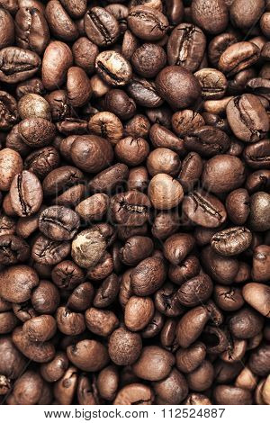 Closeup Photo Background With Dark Coffee Beans