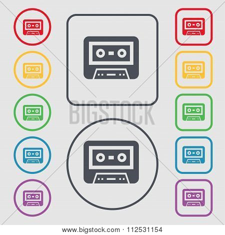 Audiocassette Icon Sign. Symbol On The Round And Square Buttons With Frame.
