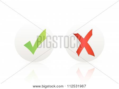 Illustration of check mark and uncheck buttons isolated on a white background.