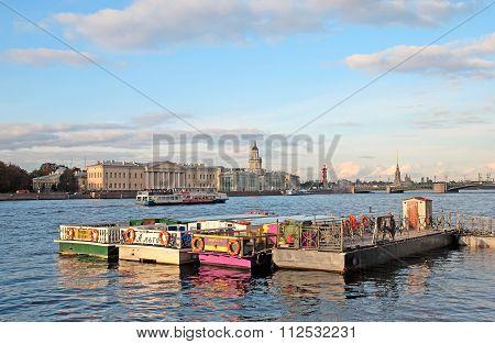 Saint-Petersburg. Russia. Tourist boats on the Neva River