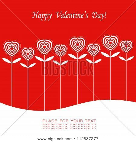 Banner For Design Posters Or Invitations On Valentine's Day With Cutest  Hearts Symbol As Flower