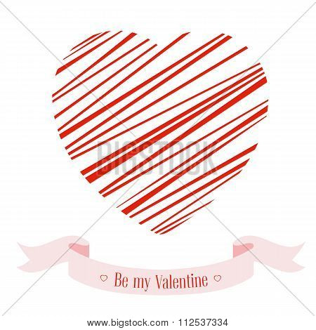 Banner For Design Posters Or Invitations On Valentine's Day With Cutest Symbol Heart And Title.