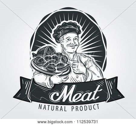 Meat products vector logo design template. Cooking, food or sausage, salami, beef, pork icon