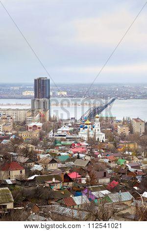 Saratov. Russia. Road Bridge Over River Volga