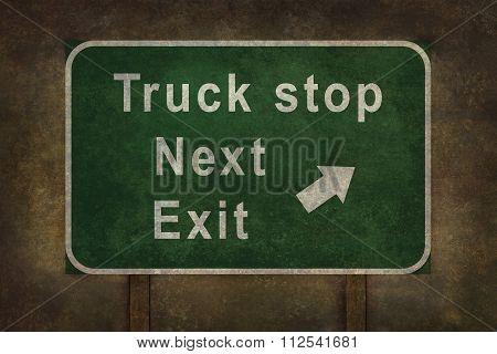 Truck Stop Next Exit Roadside Sign Illustration