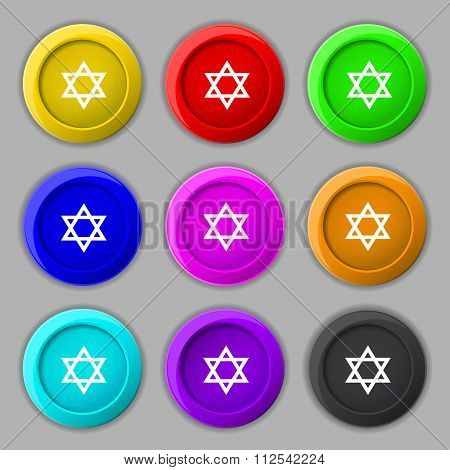 Pentagram Icon Sign. Symbol On Nine Round Colourful Buttons.