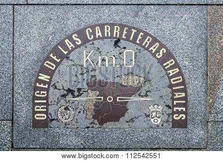 detail of kilometre zero point in Puerta del Sol Madrid Spain