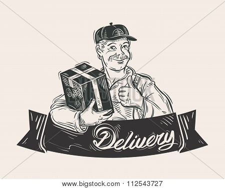 Delivery of goods vector logo design template. Mail carrier or postman, post office icon