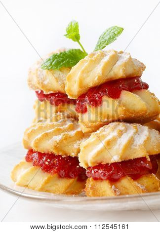 Spritz sandwich cookies with jam filling