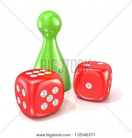 Board game figure with two red dice. 3D