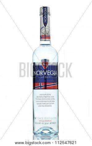 Norvegia premium vodka isolated on white background