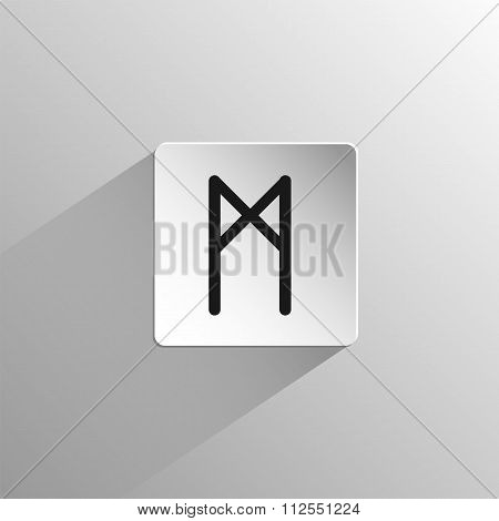magic, black icon rune Mannaz on a light background with long shadow poster