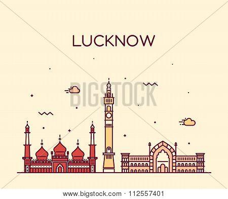 Lucknow skyline vector illustration linear style
