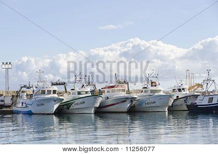 Fishing Boats In Garrucha Harbour, Spain.