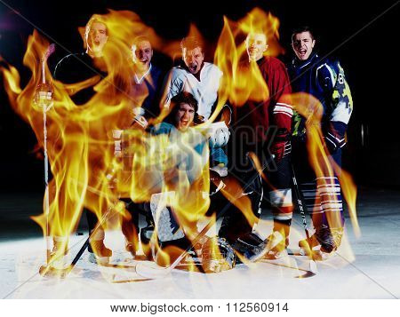 double exposure of ice hockey players team group meeting with trainer  in sport arena indoors