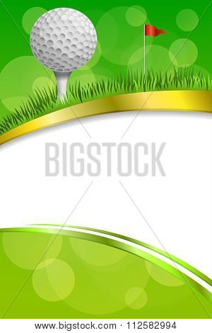 Background abstract green golf sport white ball red flag club frame vertical gold ribbon