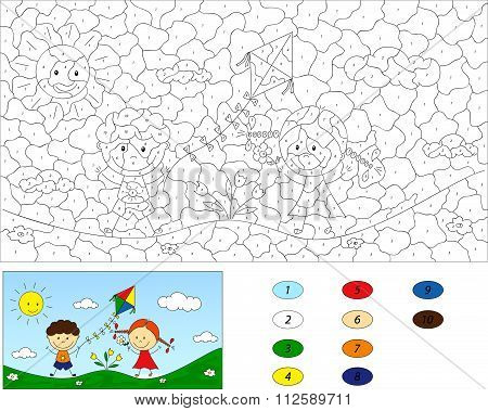 Color By Number Educational Game For Kids. A Boy And A Girl Playing In The Meadow And Launching A Ki