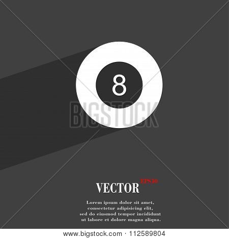 Eightball, Billiards  Symbol Flat Modern Web Design With Long Shadow And Space For Your Text.