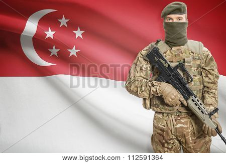 Soldier Holding Machine Gun With Flag On Background Series - Singapore