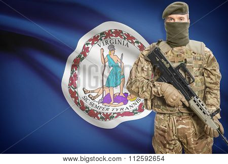 Soldier Holding Machine Gun With Usa State Flag On Background Series - Virginia