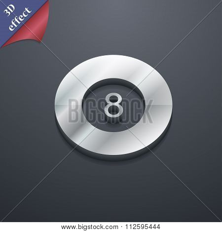 Eightball, Billiards  Icon Symbol. 3D Style. Trendy, Modern Design With Space For Your Text