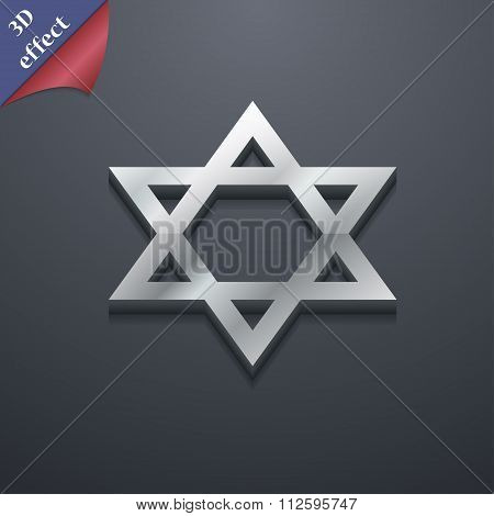 Pentagram Icon Symbol. 3D Style. Trendy, Modern Design With Space For Your Text