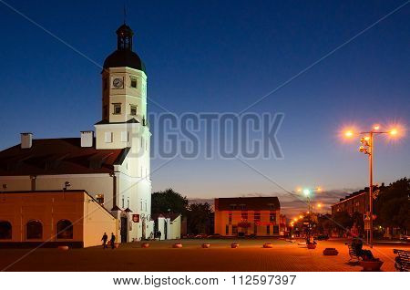 Nesvizh. The Town Hall In The Evening