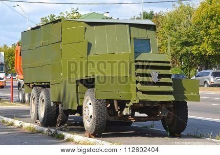 KIEV, UKRAINE - September 08, 2015: Improvised armored fighting vehicle for Civil War. Model Shush-Panzer.