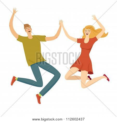 Beautiful Happy Girl And Boy Jumping Together