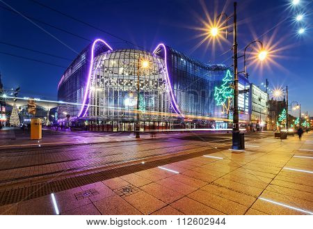 Katowice In The Evening  Decorated By Christmas Lights.